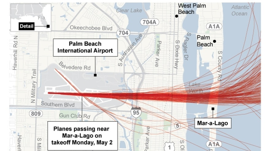 Map shows location of Trump property Mar-a-Lago in relation to to Palm Beach International Airport and air traffic patterns; 3c x 4 inches; 146 mm x 101 mm;