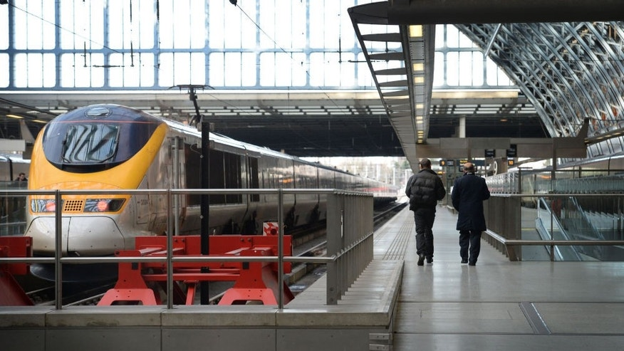 A Eurostar train sits at St. Pancras railway station in central London.