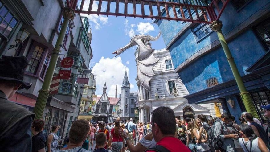 Fans explore the Wizarding World of Harry Potter at Universal's Islands of Adventure.