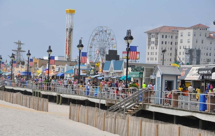 Ocean City, NJ, USA - September 1, 2013: Ocean City Boardwalk in New Jersey. The boardwalk is 2.5 miles long and one of the most well-known boardwalks in the world.