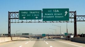 NJ Turnpike (I-95) exit to Newark and Elizabeth, New Jersey