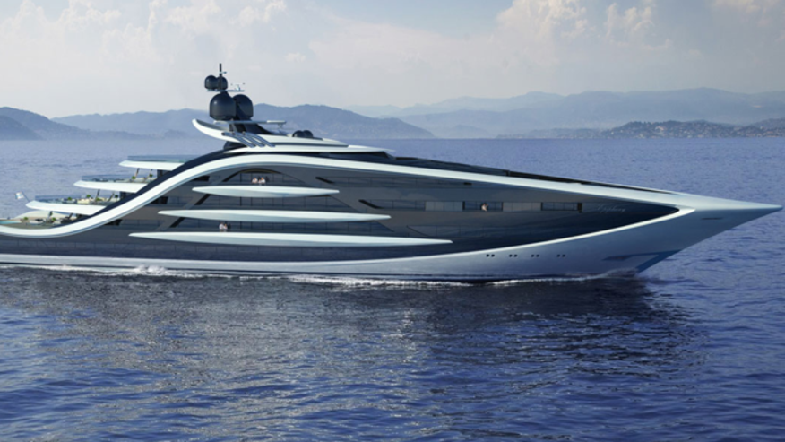 A rendering of the 427-foot Epiphany superyacht concept.