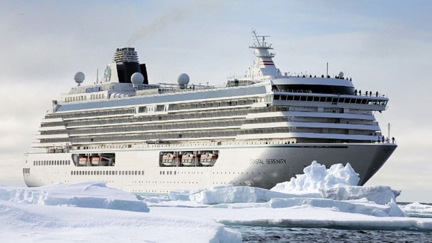 A rendering of the Crystal Serenity as it navigates through the Northwest Passage.