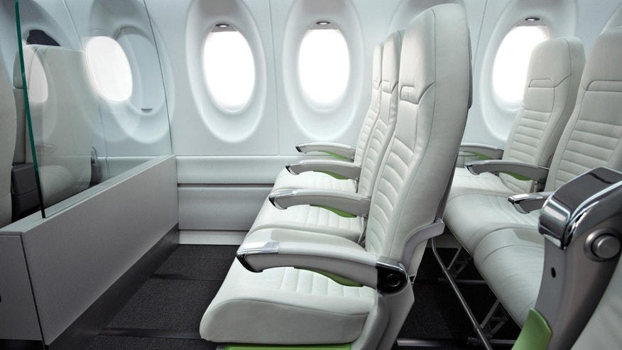 Canadian plane manufacturer Bombardier unveiled a wider seat design on its CS100 aircraft earlier this summer.