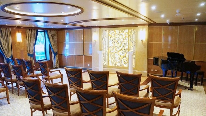 The Hearts & Minds chapel on Princess Cruises' Star Princess is open to all faiths to conduct weddings and other religious events on board.
