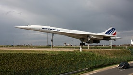 Paris, France - March 29, 2010: Airplane Concorde a supersonic passenger airliner with 144 seats, on display as a tourist attraction in Paris CDG Airport.