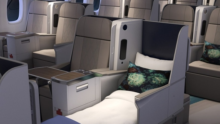 The plane's interior includes 84 lie-flat seats