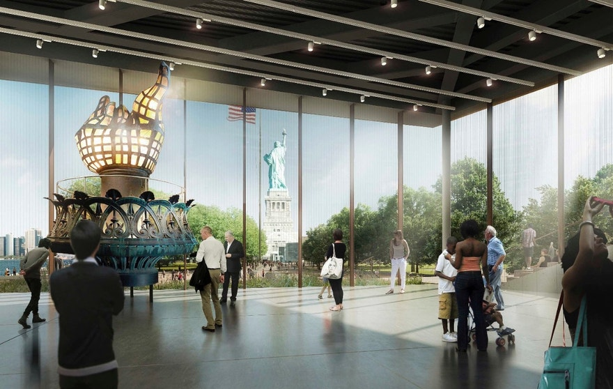 This artist rendering provided by the Statue of Liberty-Ellis Island Foundation shows a design for a new free-standing Statue of Liberty Museum on Liberty Island. The new museum will triple the exhibition space in Lady Liberty's pedestal, giving many more visitors an opportunity to see the exhibitions. Currently, a small percentage of visitors can enter the pedestal because of security measures put in place after 9/11. (Statue of Liberty-Ellis Island Foundation via AP)