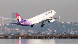 A Hawaiian Airlines Airbus A330-200 takes off at San Francisco International Airport, San Francisco, California, February 16, 2015.   REUTERS/Louis Nastro - RTR4XN73