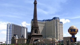 Paris Las Vegas, the fourth new mega-resort to open in Las Vegas in the past 11 months, is ready for its grand opening September 1, 1999 in Las Vegas. The $800 million French-theme resort is a project of Park Place Entertainment Corp. and includes an 85,000 sq. ft. casino, 130,000 sq. ft. of convention and meeting space, a European health spa and 31,500 sq. ft. of retail space.  Towering over the Casino is a 50 story replica of the Eiffel Tower.  Park Place Entertainment also owns Bally's (L) and the Flamingo Hilton and the Las Vegas Hilton.  