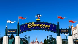 Paris, France - November 22, 2015: This is the entrance to Disneyland Paris in France.