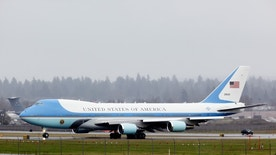 Portland, Oregon, USA - February 18, 2011: Air Force One ready for departure from Portland International Airport following a visit to the Intel facility in Hillsboro by President Obama.