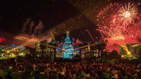 """The 2016 holidays season brings a all-new nighttime spectacular to Disney's Hollywood Studios with """"Jingle Bell, Jingle BAM!."""" The facade of the Chinese Theater comes alive with state-of-the-art projections, and guests will experience special effects, fireworks and even snow on, above and around the theater. """"Jingle Bell, Jingle BAM!"""" will run Nov. 14 to Dec. 31, 2016.  (David Roark, photographer)"""