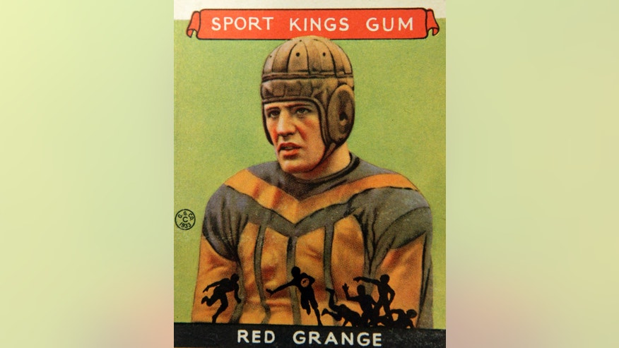 Jan. 8, 2014: A Red Grange football trading card is part of an exhibit of vintage football cards to be shown at the Metropolitan Museum of Art in New York.