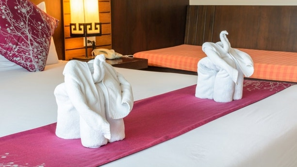 elephant made from towels in the hotel