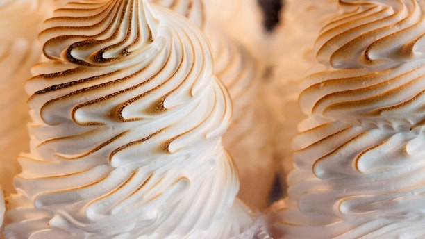 Closeup of Baked Alaska .