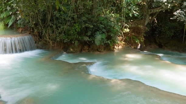 DGY3NF A view of the lovely emerald-green waters of the Kuang Si Waterfalls near Luang Prabang, Laos.. Image shot 11/2011. Exact date unknown.