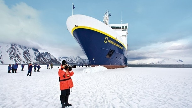 """It's in the early season (Oct.-Nov.) when the Captain can adroitly """"park"""" National Geographic Explorer, allowing guests to disembark directly on the ice."""
