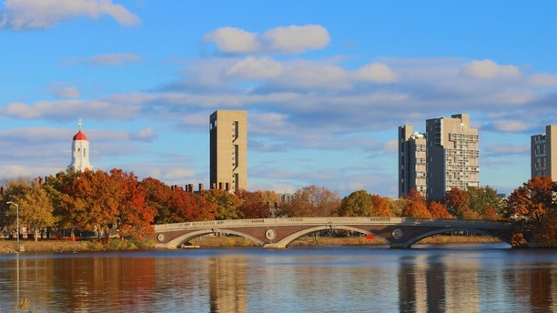 Weeks Bridge and dorm towers of Harvard University seen across the Charles in Cambridge, MA, USA on a beautiful fall day in November 2013.