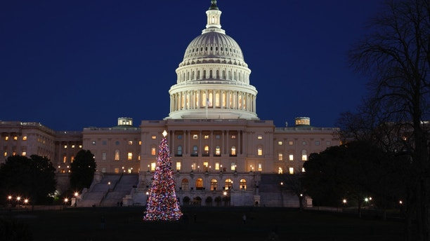 The United States Capitol building with Christmas tree in the foreground.
