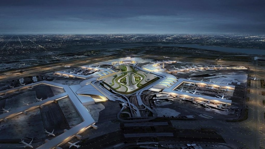 In this undated artist rendering provided by the Office of the Governor of New York, a view of what the renovated John F. Kennedy International Airport would look like from the air is shown. On Wednesday, Jan. 4, 2017, New York Gov. Andrew Cuomo unveiled a $10 billion plan to transform New York's aging airport into a world-class hub with easier access. (Office of the Governor of New York via AP)