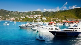 Marina and harbor in the tropical island of St. Thomas, USVI