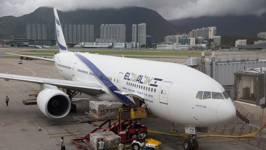 El Al Israel Airlines Boeing 777-200 parked at Hong Kong International Airport.