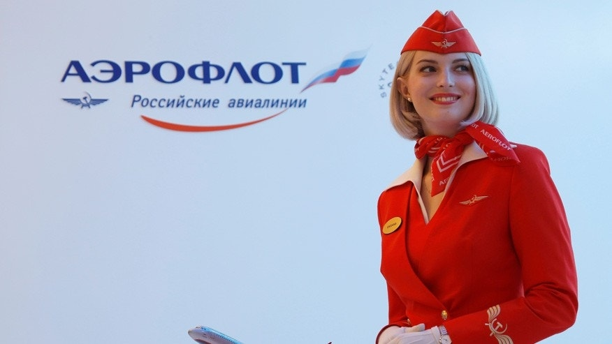 The Aeroflot booth at the St. Petersburg International Economic Forum in seen in St. Petersburg, Russia, on June 17, 2016.