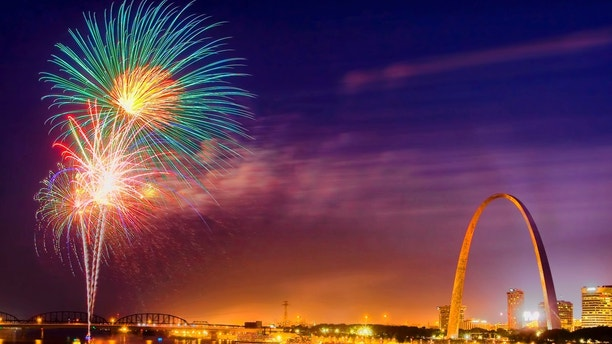 Part of the annual long July 4 weekend celebration in St. Louis, Missouri.  Fireworks shot from a barge in the Mississippi River.