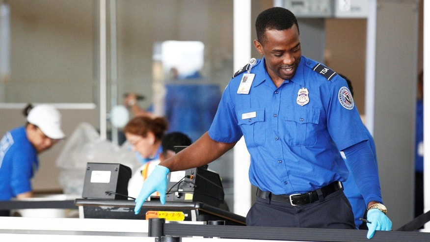A Transportation Security Administration (TSA) agent works at JFK airport in the Queens borough of New York City, U.S., May 27, 2016.
