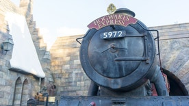Osaka, Japan - December 1, 2015: Hogwarts Express Train at Wizardly World of Harry Potter at Universal Studios Theme Park in Osaka, Japan