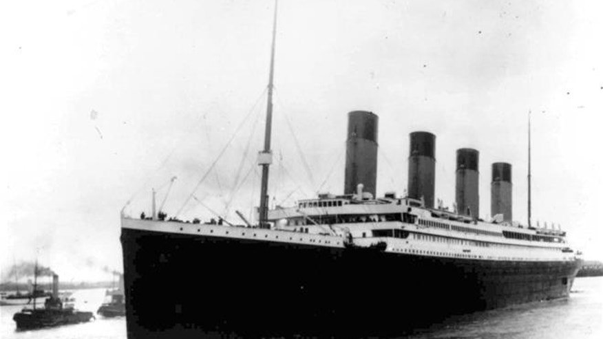 An April 10, 1912, photo, shows the Titanic leaving Southampton, England, on her maiden voyage. The ship collided with an iceberg on April 15.
