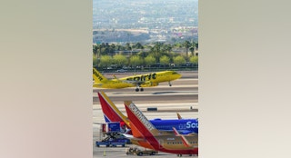 Las Vegas, Nevada,USA - March 16, 2017 : Busy morning traffic at Mccarran International Airport in Las Vegas . Southwest airline is one of the most frequent flyer in this region. Las Vegas is famous for entertainment and night show.