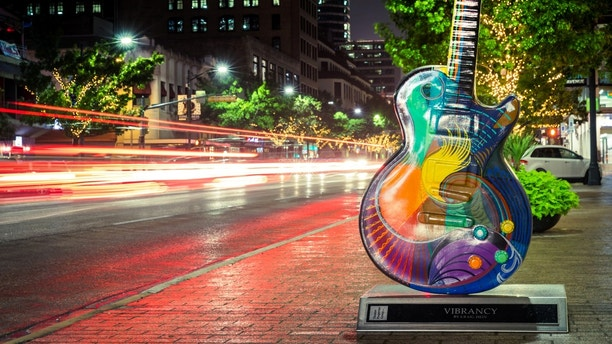 Austin, USA - November 5, 2016: Vibrancy by Craig Hein is one of the Guitar town Austin art project Guitars on Congress Avenue in Austin, Texas.