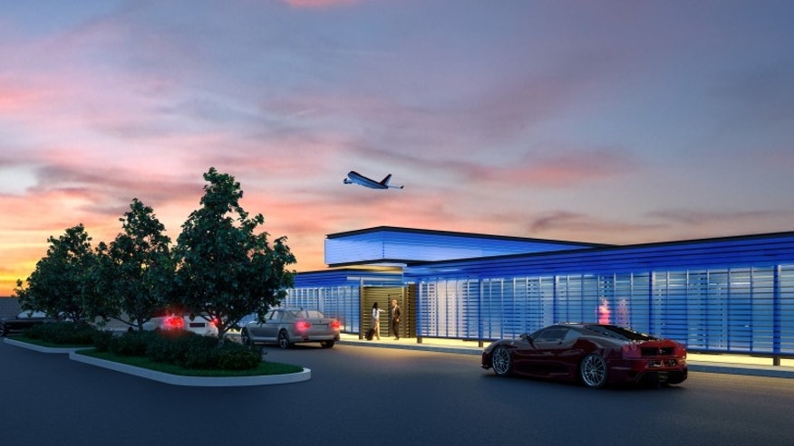 An artist rendering shows the private arrival area at a new $22-million facility catering to celebrities and others who want to pay a premium for privacy as they depart from or arrive at Los Angeles International Airport. The facility called the Private Suite opened Monday, May 15, 2017, and offers an exclusive entrance, one-on-one security screening and plush lounges.