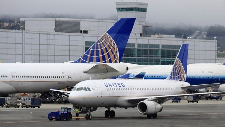 File photo: United Airlines planes sit on the tarmac.