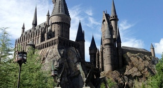 Orlando, USA - August 2, 2013: View of the crowd heading to the very popular Wizarding World of Harry Potter at Universal Orlando resort, the structure resembles the Hogwarts school of witchcraft. Mobilestock image.