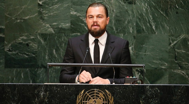 U.S. actor and UN Messenger of Peace Leonardo DiCaprio speaks during the Climate Summit at United Nations Headquarters in New York, September 23, 2014.  REUTERS/Mike Segar (UNITED STATES - Tags: POLITICS ENVIRONMENT ENTERTAINMENT) - RTR47DAD