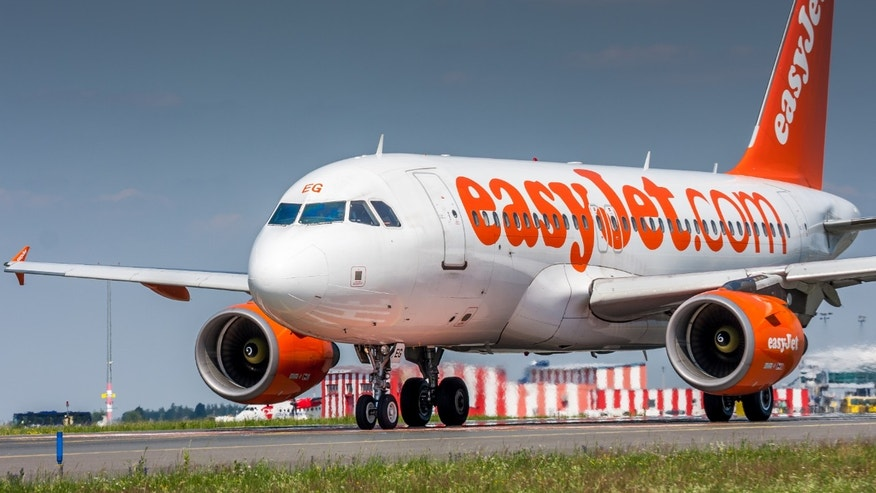 An airport employee was photographed punching an EasyJet passenger who inquired about his flight's delay.