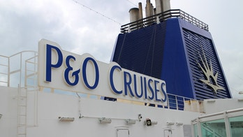 Southampton, United Kingdom - June 24, 2016: A shot of the top deck logo onboard P&O MV Britannia in port on route from Southampton to the Channel Islands (UK).
