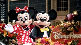 Philadelphia, PA, USA - November 27, 2014: Disney's Mickey and Mini Mouse participate in the Thanksgiving Day Parade in Philadelphia.