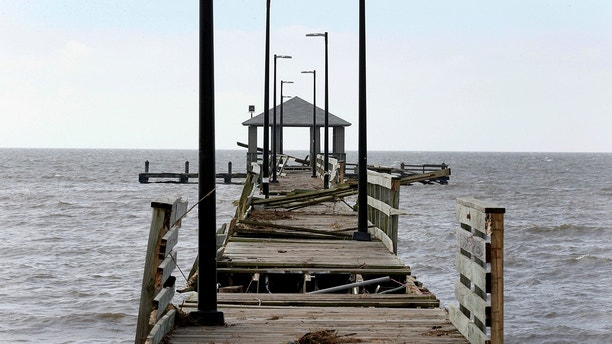 Lighthouse Pier is seen damaged by Hurricane Nate, in Biloxi, Mississippi, U.S., October 8, 2017. REUTERS/Jonathan Bachman - RC1775535D10
