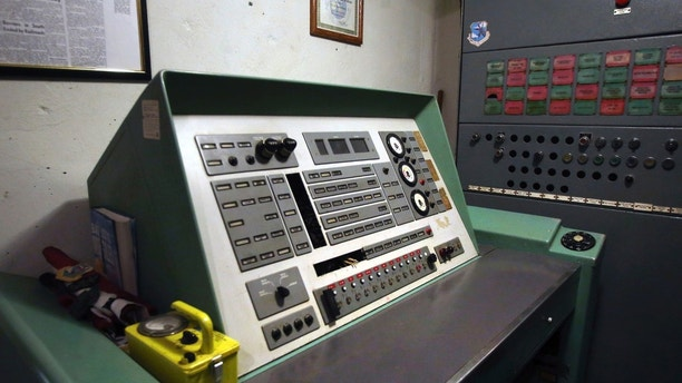This Nov. 2, 2017 photo shows the launch control panel for the Atlas missile at a silo missile base that has been converted into the Subterra Airbnb near Eskridge, Kan. The Subterra Castle Airbnb opened for business about six months ago. (Thad Allton/The Topeka Capital-Journal via AP)