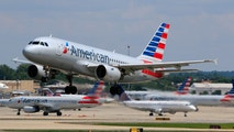 Charlotte, NC, USA - May 28, 2016: American Airlines Airbus A319 (Registration No. N723UW) taking off at Charlotte Douglas International Airport.