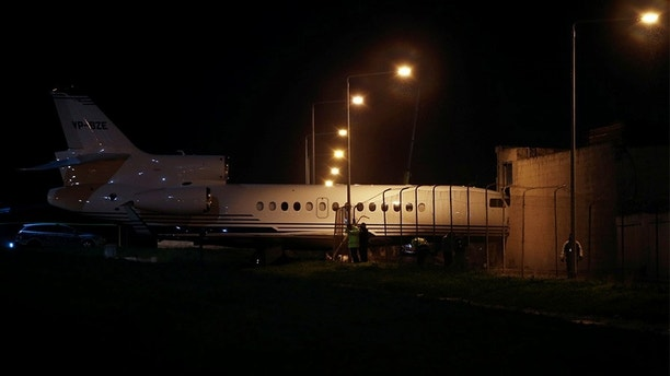 A privately-owned Dassault Falcon 7X business jet aircraft is seen after it was blown off the airport apron and into an adjacent building as strong winds hit the Maltese islands, according to local media, at Malta International Airport in Luqa, Malta, December 27, 2017. REUTERS/Darrin Zammit Lupi - RC1CF4C13190