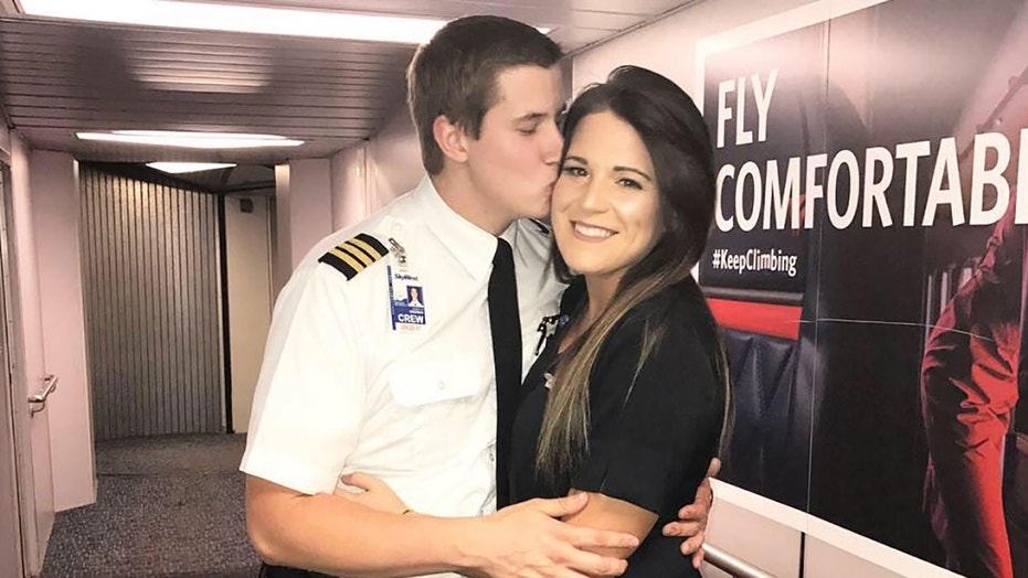 Pilot Jon Emerson proposed to his girlfriend, flight attendant Lauren Gibbs, on a flight just before Christmas.