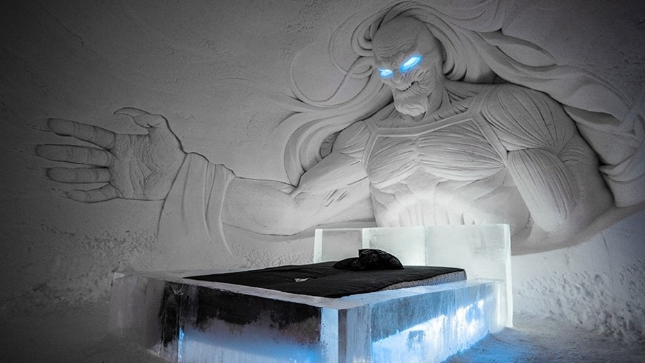 "For this year's SnowVillage, Lapland Hotels partnered with HBO Nordic to give the structure a distinct ""Game of Thrones"" theme."