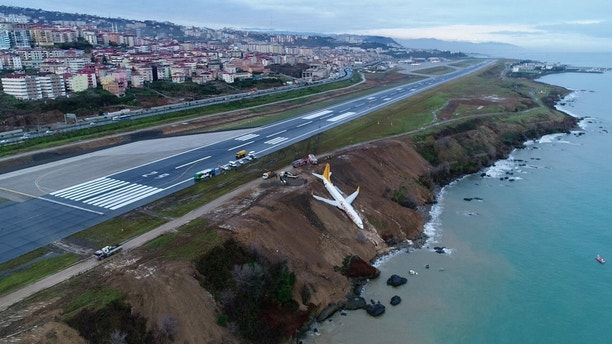 A Pegasus Airlines aircraft is pictured after it skidded off the runway at Trabzon airport by the Black Sea in Trabzon, Turkey, January 14, 2018. Ihlas News Agency (IHA) via REUTERS ATTENTION EDITORS - THIS PICTURE WAS PROVIDED BY A THIRD PARTY. NO RESALES. NO ARCHIVE. TURKEY OUT. NO COMMERCIAL OR EDITORIAL SALES IN TURKEY. - RC113336B200