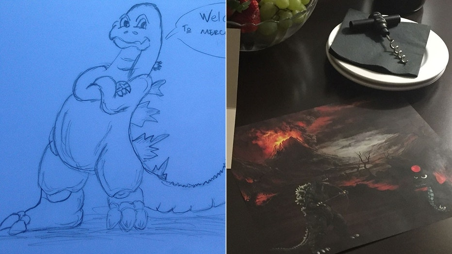 Patrick Feary says the idea started as a joke, but now he asks every hotel for a Godzilla pic.