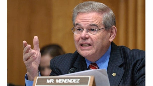 Senate Foreign Relations Committee member Sen. Robert Menendez, D-N.J., speaks on Capitol Hill in Washington, Thursday, Dec. 1, 2011, during the committee's hearing to examine US strategic objectives towards Iran. (AP Photo/Susan Walsh)